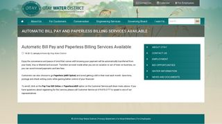 Automatic Bill Pay and Paperless Billing ... - Otay Water District