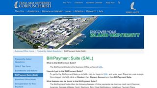Bill/Payment Suite (SAIL) Texas A&M University-Corpus Christi