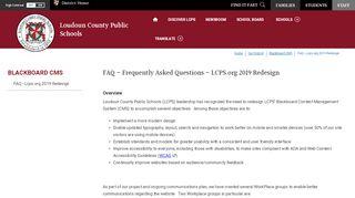 Blackboard CMS / FAQ - Lcps.org 2019 Redesign