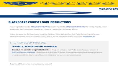Blackboard Course Login Instructions - University of Toledo