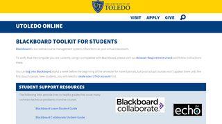 Blackboard Toolkit for Students - University of Toledo