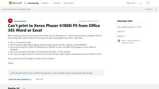 Can't print to Xerox Phaser 6180N PS from Office 365 Word or Excel ...