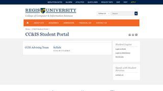 CC&IS Current Student Portal - Regis University