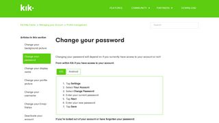 Change your password – Kik Help Center