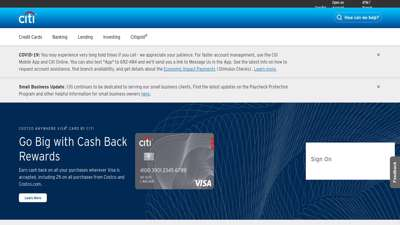 Citi's online banking services, credit cards ... - Citibank
