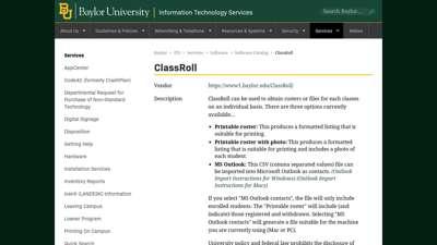ClassRoll  Information Technology Services  Baylor ...