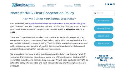 Clear Cooperation — NorthstarMLS