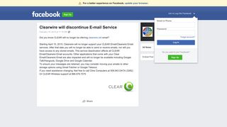 Clearwire will discontinue E-mail Service | Facebook