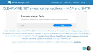 CLEARWIRE.NET email server settings - IMAP and SMTP ...