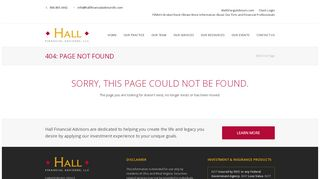 Client Confidentiality - Hall Financial Advisors