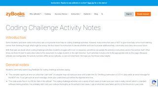 Coding Challenge Activity Notes - zyBooks