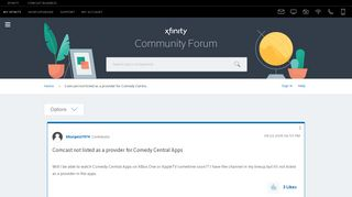 Comcast not listed as a provider for Comedy Centra... - Xfinity ...