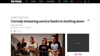 Comedy streaming service SeeSo is shutting down - The Verge