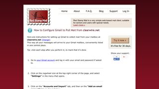 Configure Gmail to Pull Mail from clearwire.net | Red Stamp Mail