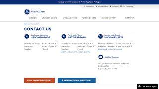 Contact Us for Questions about Appliances   GE Appliances