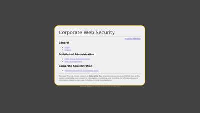 Corporate Administration - Corporate Web Security