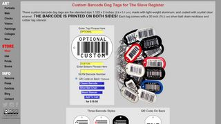 Custom Barcode Dog Tags & Tattoos for The Slave Register