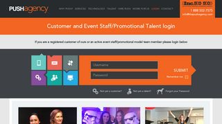 Customer and Event Staff/Promotional Talent login - PUSH ...