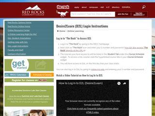 Desire2Learn (D2L) Login Instructions   Red Rocks Community College