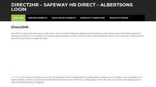 Direct2HR - Direct2HR – Safeway HR Direct - Albertsons Login