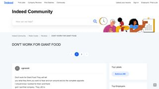 DON'T WORK FOR GIANT FOOD | Indeed.com