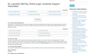 Dr. Leonard's Bill Pay, Online Login, Customer Support ...