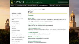 Email  Information Technology Services  Baylor University