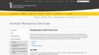 Employee Self-Service - University of Maryland, Baltimore