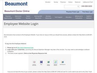 Employee Website Login - Beaumont Health System