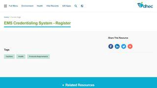 EMS Credentialing System - Register   SCDHEC