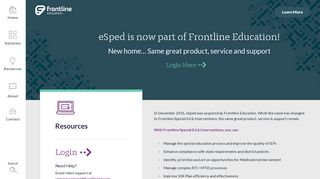 eSped is Now Part of Frontline Education   eSPED Login