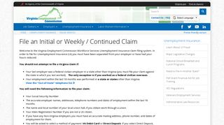 File an Initial or Weekly / Continued Claim - Virginia Employment