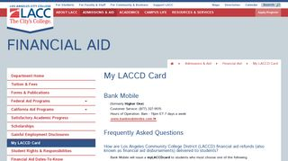 Financial Aid - My LACCD Card - Los Angeles City College
