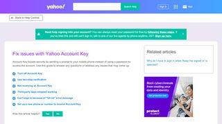Fix issues with Yahoo Account Key  Yahoo Help - SLN25921