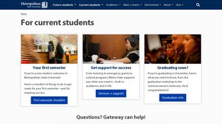 For current students | Metropolitan State University