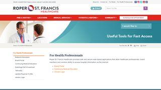 For Health Professionals   Charleston, SC - Roper St. Francis