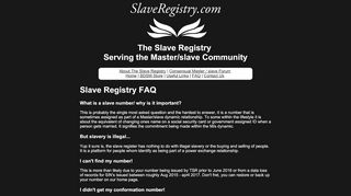 Frequently asked questions about the slave register