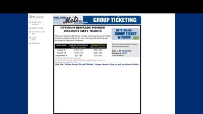 Group Ticket Information  New York Mets