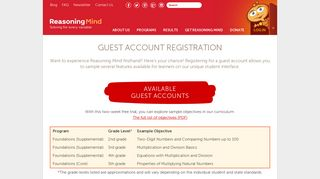 Guest Account Registration - Reasoning Mind