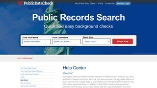 Help Center - Public Data Check