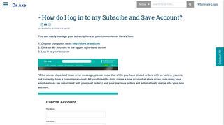 **How do I log in to my Subscibe and Save Account?** | Dr ...