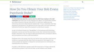 How Do You Obtain Your Bob Evans Paycheck Stubs ...