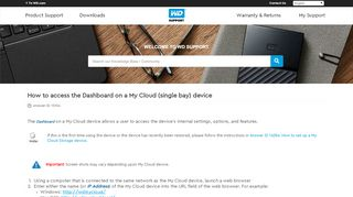 How to access the Dashboard on a My Cloud (single bay ... - WD