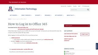 How to Log in to Office 365   Information Technology ...
