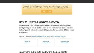 How to uninstall iOS beta software - Apple Support