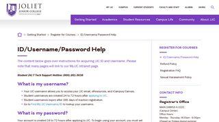 ID/Username/Password Help  Joliet Junior College