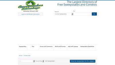 Instant Win Sweepstakes Games  Sweepstakes Advantage Listings