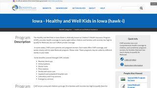 Iowa - Healthy and Well Kids in Iowa (hawk-i)   Benefits.gov