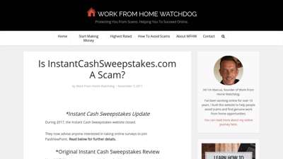 Is InstantCashSweepstakes.com A Scam?  Work From Home ...
