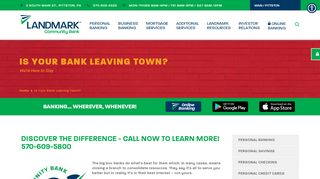 Is Your Bank Leaving Town? - Landmark Community Bank